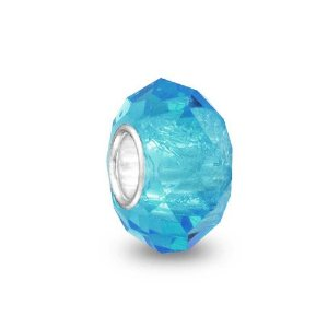 Pandora Turquoise Color Faceted Crystal Glass Charm