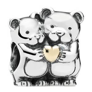 Pandora Two Teddy Bears With Golden Heart Charm