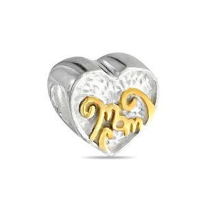 Pandora Two Tone Mom Heart Charm