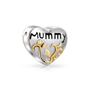 Pandora Two Tone Mummy Heart Gold Plated Charm