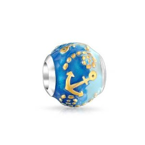 Pandora Two Tone Nautical Anchor Blue Ocean Charm