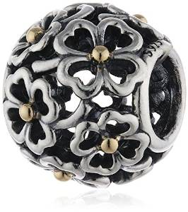 Pandora Two Tone Solid Floral Charm