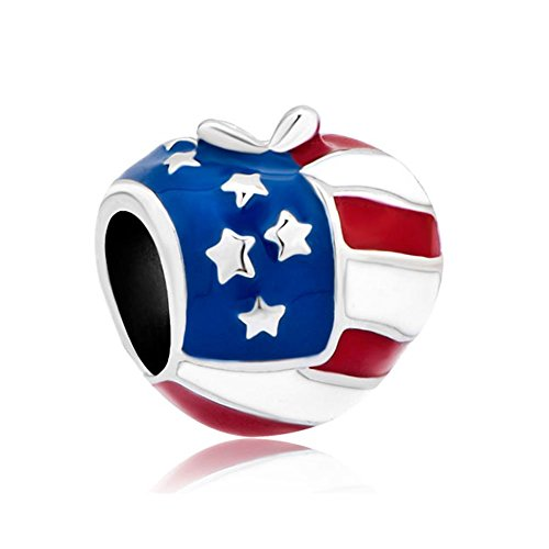 Pandora USA Flag Heart Apple Charm