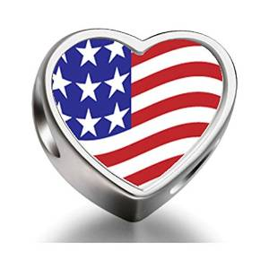 Pandora USA Flag Heart Photo Charm