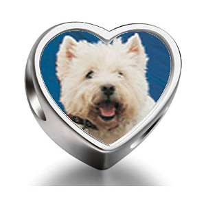 Pandora West Highland Terrier Heart Photo Charm