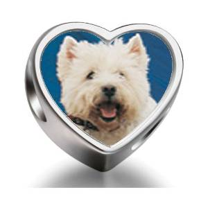 Pandora Westie Dog Heart Photo Charm
