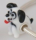 Pandora White And Black Dog Glass Charm