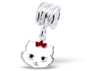 Pandora White Cat Face Dangle Charm