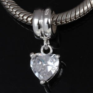 Pandora White Crystal Heart Dangle Charm