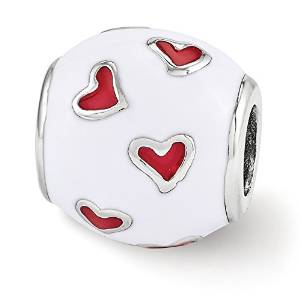 Pandora White Enameled Barrel Red Crystals Charm