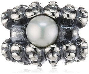 Pandora White Freshwater Cultured Pearl Inside Silver Shell Charm