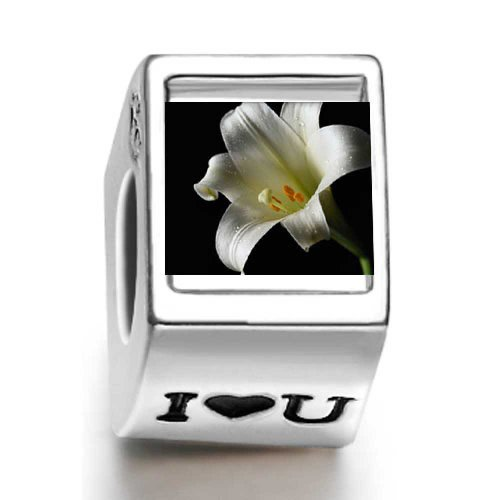 Pandora White Lily Heart Photo Charm