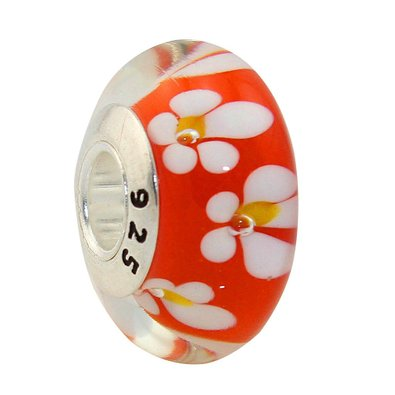 Pandora White Orange Flower Murano Glass Charm