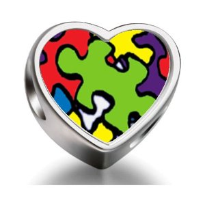 Pandora Word Autism Heart Photo Charm