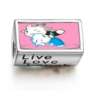 Pandora Wrestling Cartoon Photo Flower Charm