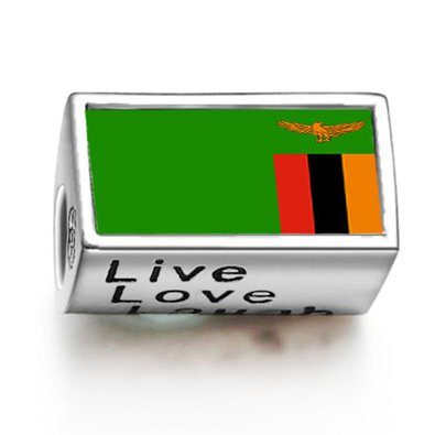 Pandora Zambia Flag January Birthstone Photo Charm
