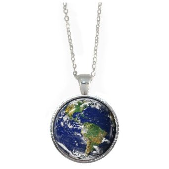 Planet Earth Pendant Necklace Silver Charm