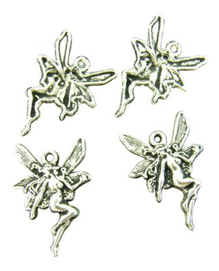 Set Of 10 Sterling Silver Fairy Charm