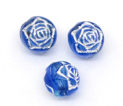 Set Of 100 Blue Silver Foil Flower Acrylic Charm