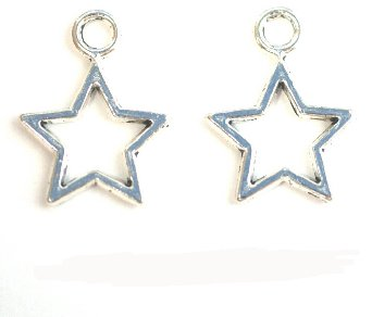 Set Of 15 Sterling Silver Hollow Stars Charm