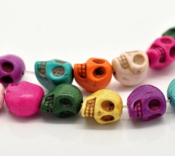 Set Of 30 Mixed Colors TURQUOISE Skulls Bead