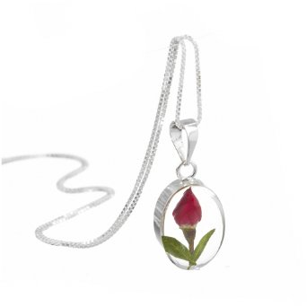 Silver Oval Pendant Real Rose Buds With Chain Charm