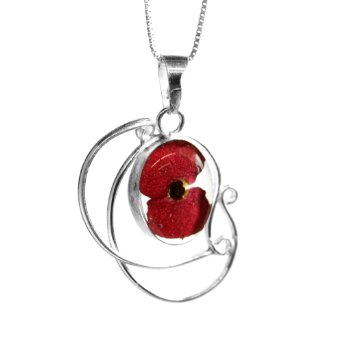 Silver Poppy Swirl Pendant Charm With Chain