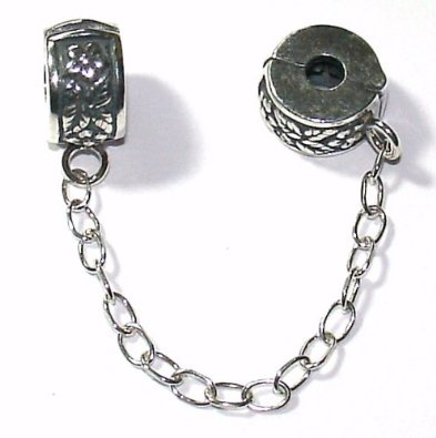 Sterling Clip On Safety Chain Flower Pattern Charm