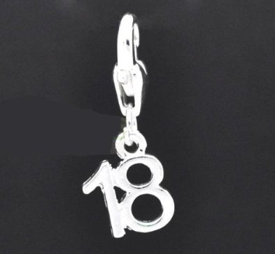 Sterling Silver Age 18 Dangle Clip On Charm image