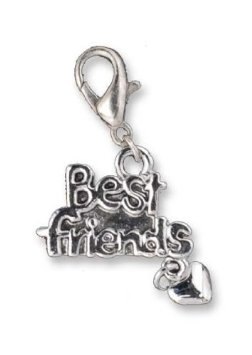 Sterling Silver Best Friends Heart Silver Charm