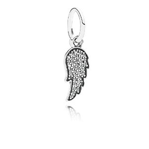 Sterling Silver Pendant Angel Wing CZ Charm