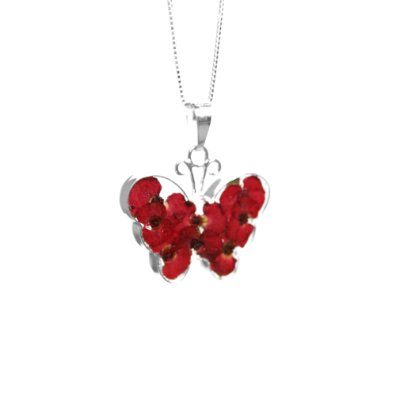 Sterling Silver Poppy Butterfly Real Flowers Pendant