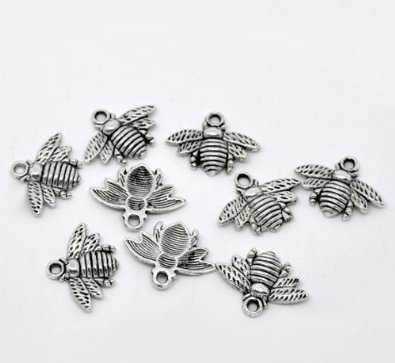 Sterling Silver Set Of 10 Bumble Bee Charm