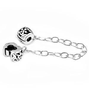 Sterling Silver Solid Safety Chain Clip On With Clear Cubic Zirconia Charm