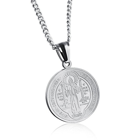 Sterling Silver St Benedict Catholic Medal Pendant Charm image